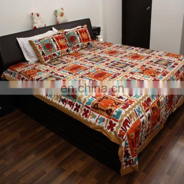 Indian vintage 100 % cotton bedsheet handmade deign jaipuri bedspread bed cover