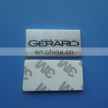 custom enamel logo aluminum rectangle shape metal name badges with adhesive sticker