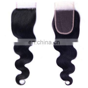 Wholesale human hair body wave lace front closure Brazilian virgin hair 4*4 lace top closure body wave lace