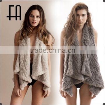 Factory direct wholesale pricea asymmetric rabbit knitted fur shawl with spread collar