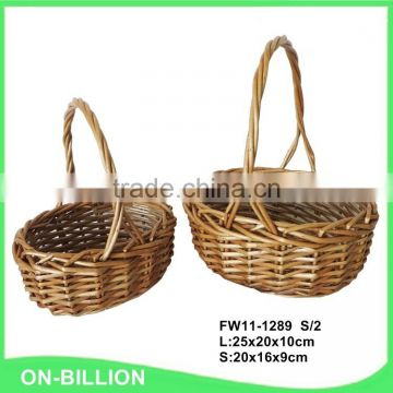 Unique small wicker gift handmade flower basket empty