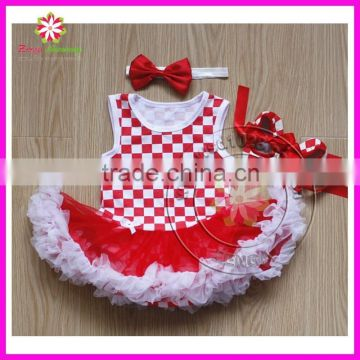 Wholesale white and red square print baby girl romper bodysuit pettiskirt with headband and shoes