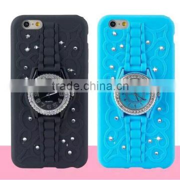 Best Real Beaded Watch Kickstand Phone Case with Diamond TPU Back Cover for Iphone6 6plus and for Samsung