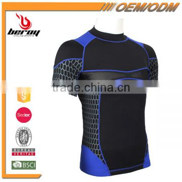 Ultra Elastic Mens Short Sleeve Shirt Cycling Apparel Skinsuit with Custom Available