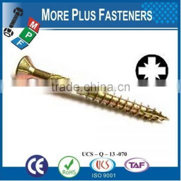 Made in Taiwan Chipboard Screw Particle Board Screw Gympsum Board Screw Pozi Drive Countersunk Head Six Lobe Recess Torx Drive