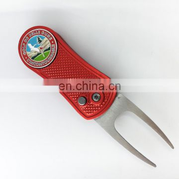 In stock selling golf folding pitch fork /Retractable Switchblade pitch fork ball marker