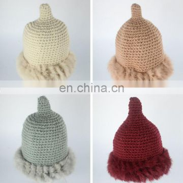 Top grade 100% acrylic women beanie winter hats with rabbit fur
