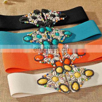customize wholesale women ladies fashion retro enthic tribal elastic extra wide belt with stone shell
