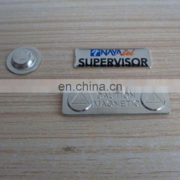Custom enameled company logo name badge for staff with magnet