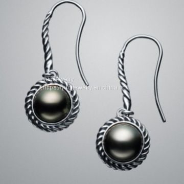 925 Silver Jewelry Black Pearl Cable Wrap Drop Earrings(E-081)