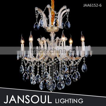 JANSOUL 6 arms golden victorian k9 crystal chandelier