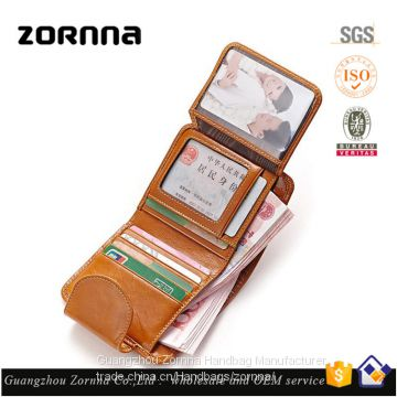 Zornna Latest OEM small custom maker ID holder blank genuine cow leather credit card wallet women