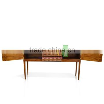 Furniture Console Table Art Deco Style Teak Wood White Wash Color