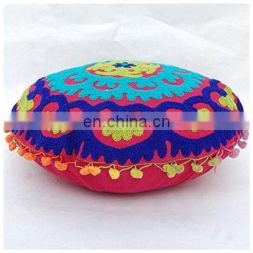Handmade Pouf Cover Decorative Ottoman Indian Suzani Round Cushion Cover Vintage Cotton Pillow Cases