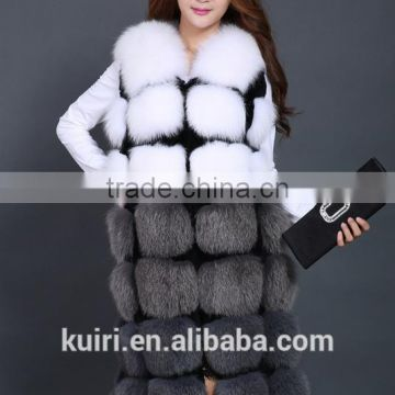 high-grade genuine fox fur vest real fox fur long gilet fashion fur winter coat for women