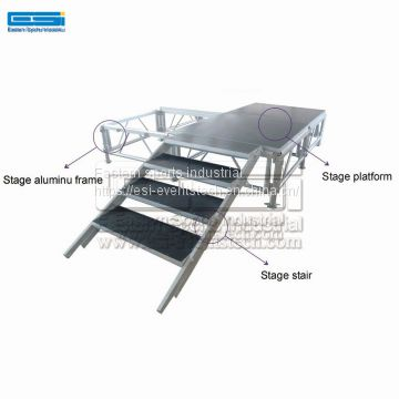 Wedding Decor Fashion Show Decoration Portable Removable Roof Stair Truss Stage Platform With Wheels