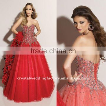 2012 beaded corset sweetheart red tulle custom-made Quinceanera dress CWFab3615