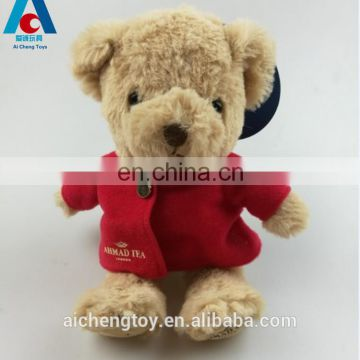 custom 25cm long plush stuffed teddy bear toys with red clothes
