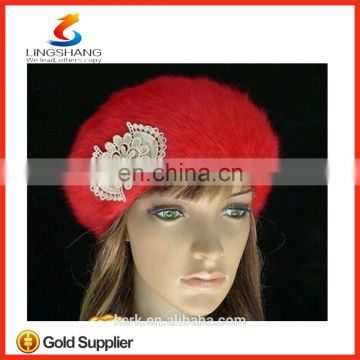 lingshang angora high quality knitted winter girl flower crochet fashion hat