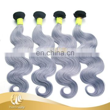 1B Grey Ombre Human Hair, Body Wave Ombre Brazilian Hair Weave 100G, Ombre Virgin Hair