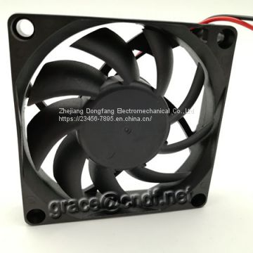CNDF dc brushless flow cooling fan 12VDC 24VDC dimension 70x70x15mm  0.22A  2.64W 3500rpm 29.5cfm
