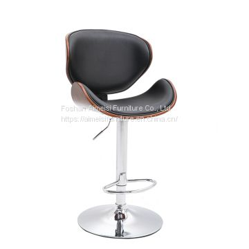 Modern leather cushion plywood backrest bar chair