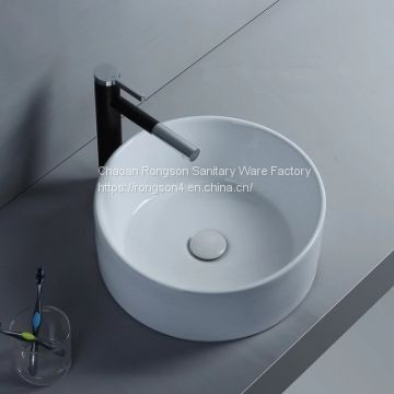 Bathroom good quality ceramic sanitaryware round shape wash hand basin sink in white color