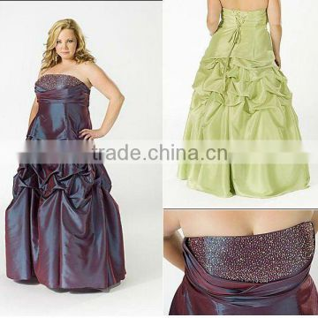 Hot sale strapless beaded floor length plus size evening dress CWFae184