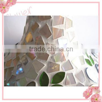 Flower Patterned Elegant Glass Handicraft Stained Mosaic Giant Glass Vases