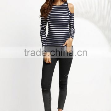 APPAREL Navy Striped Open Shoulder Ribbed T-shirt