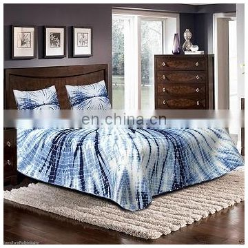 indigo blue bed sheet bed cover, Tye Dyed queen Bedspread with 2 pillow case set