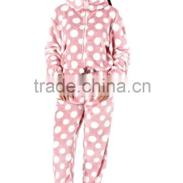 OEM Coral Fleece Nordic Onesie Ladies Luxurious Spotted Jumpsuit