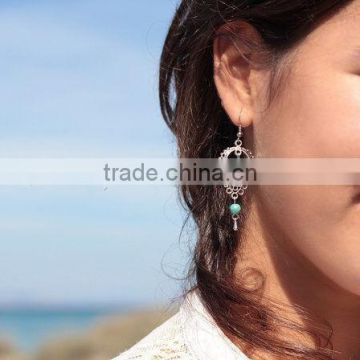 European and American trade retro fashion jewelry big national wind Pierced Earrings turquoise earrings female