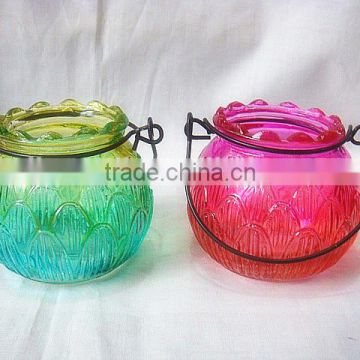 colored glass hanging lantern stand