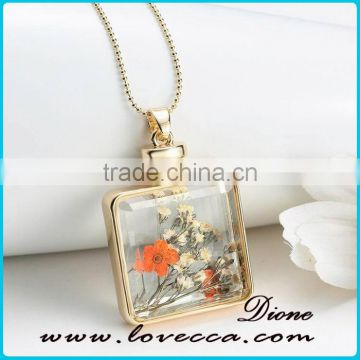 Unique Gift Handmade Dried Flowers Necklace Glass Bottle Vial Necklace With Real Dried Flower Inside