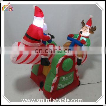 Promotion santa led inflatable seesaw, air blown inflatable teetertotter with santa claus& reindeer for christmas decor
