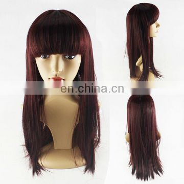 girls wig oblique long straight hair fluffy bangs high temperature wire wig