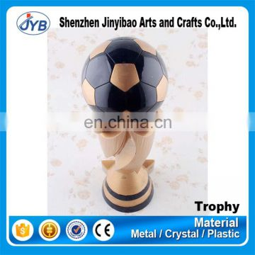 Hot design resin football soccer trophy cup for award