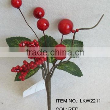 "newest special artificial holly leaves and foam red berry pick 6"" branches pick for chrismas home decoration pick"