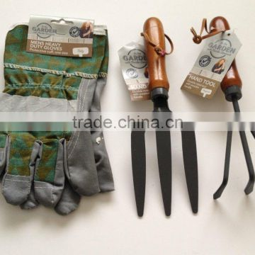 Garden Tools Set Wooden Handles Fork Cultivator Heavy Duty Gloves New