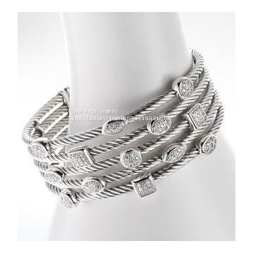 DY Sterling Silver Five Row Confetti Ice Bracelet