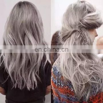 2015 High Quality Wholesale 100% Gray Hair Dye Grey Yak Hair Weaving