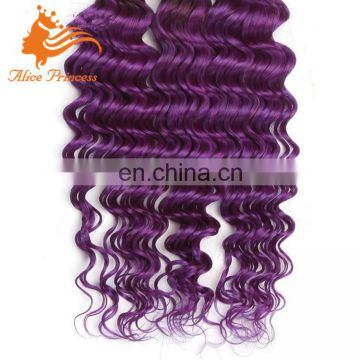 Ombre Purple Brazilian Deep Curl Hair Weaving Bundles 1BTPurple Virgin Purple Human Hair Weave