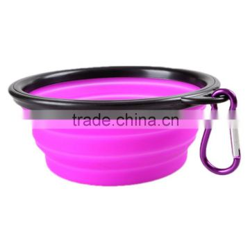 Portable Pet Supplies Dog Puppy Cat Feeder Dish Outdoor Foldable Feeding Food Bowl Water Cup with Keyring