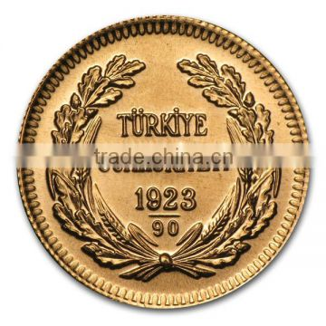 1 oz Turkey Kurush Ataturk Replicas tungsten gold coin banknotes With Thick Gold Plating