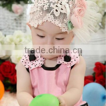 shabby chic chiffon lace flowers,newborn baby flower headband