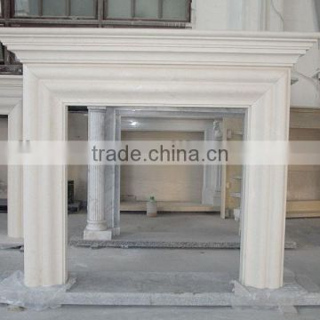 Beige and yellow sandstone fireplace mantels