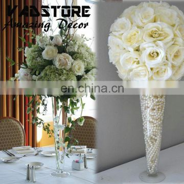 "16""clear trupmet glass vase wedding table centerpiece flower holder"