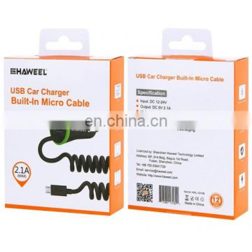 Car Charger, 5V 2.1A Micro USB Car Charger with Spring Cable for Samsung