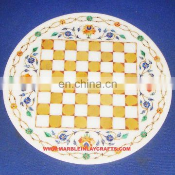 Decorative Marble Inlay Chess Plate